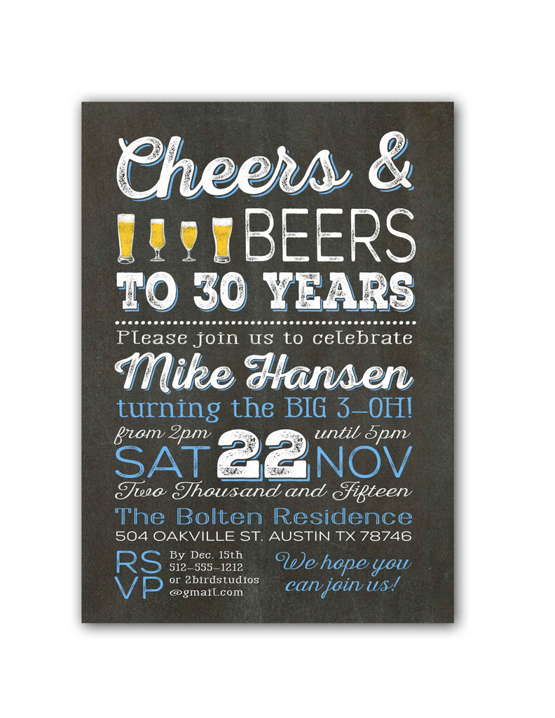 Chalkboard Cheers Beer Birthday Party Invitation 2 Bird Studios