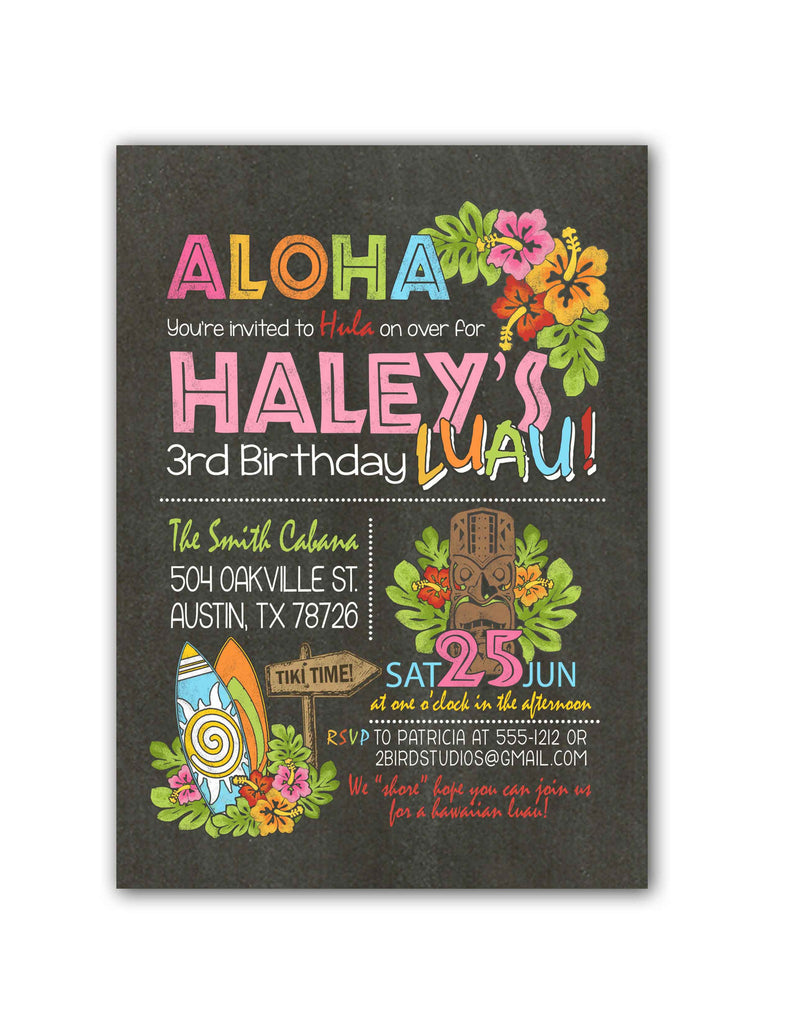 Hawaiian Luau Birthday Party Invitation Summer themed birthday 2