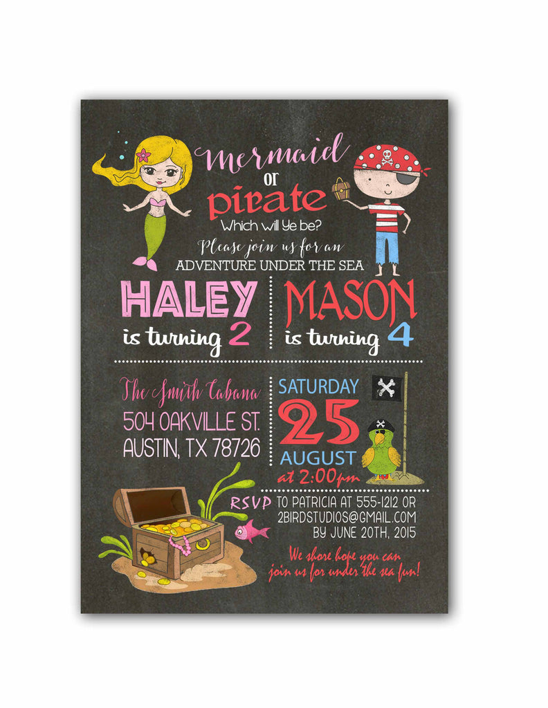 Pirates Mermaids Birthday Invitation 2 Bird Studios