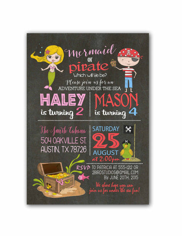 Pirates mermaids birthday invitation with photo 2 bird studios pirates mermaids birthday invitation for summer pool party chalkboard diy you print sbilings filmwisefo Gallery