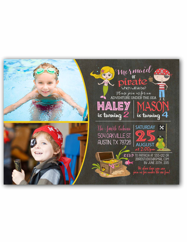 Pirates Mermaids Birthday Invitation For Summer Pool Party