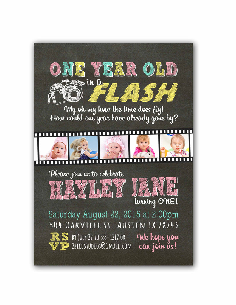 First Birthday Invitation One year old in a flash 2 bird studios