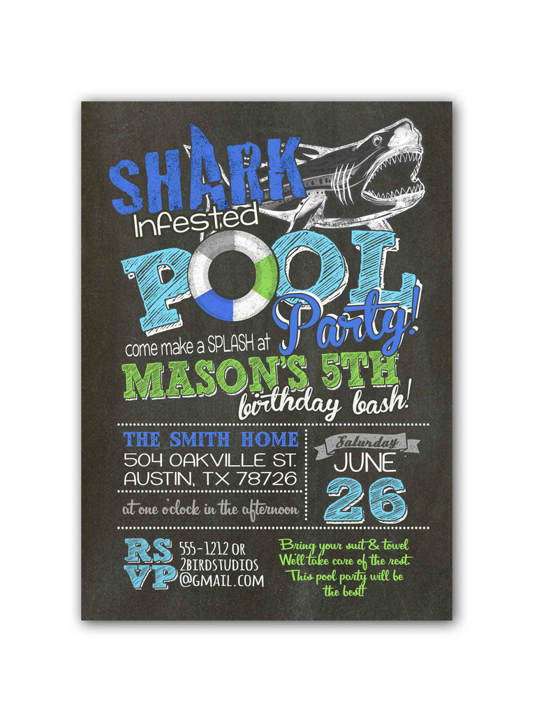 shark infested pool birthday party invitation with green 2 bird