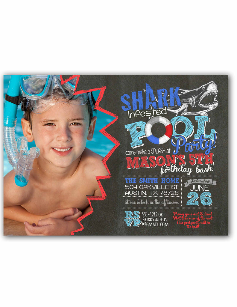 shark infested pool party invitation 2 bird studios