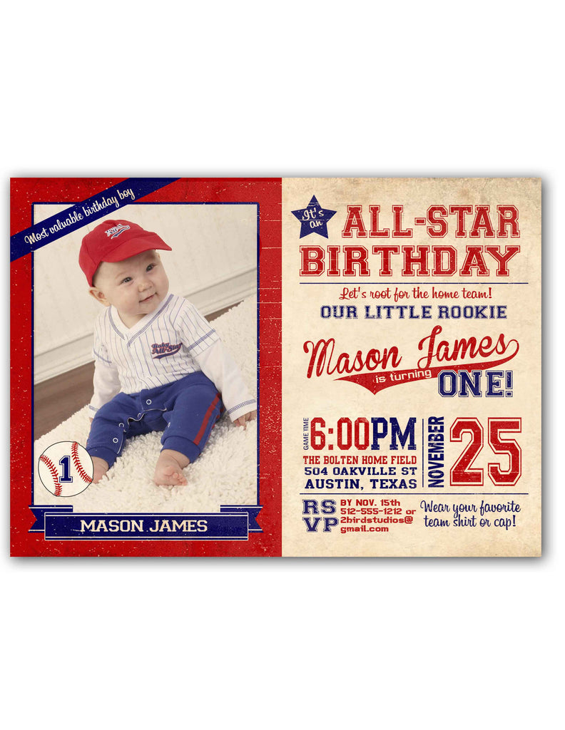 Vintage Baseball Birthday Party Invitation Photo 2 Bird Studios