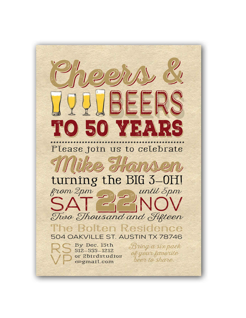 Vintage Cheers Beer Birthday Party Invitation 2 Bird Studios