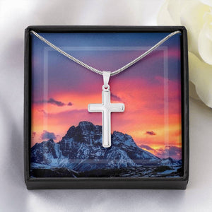 White Gold Cross Necklace - Mountain Sunset