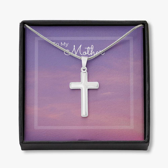 To My Mother - White Gold Cross Necklace - Purple Sky