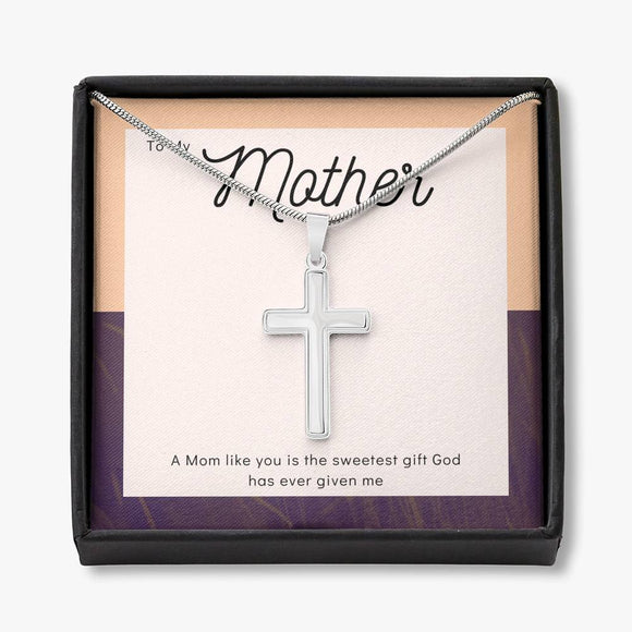 To My Mother - White Gold Cross Necklace - Peach and Burgundy