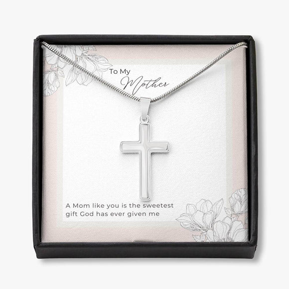 To My Mother - White Gold Cross Necklace - Pink Flowers