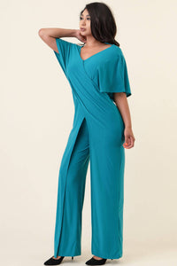 J15000-1 SUMMR Winged Jumpsuit (Poly-Span) caribbean teal sexy and slim fitting
