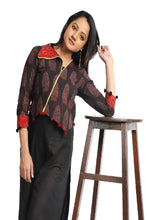 Load image into Gallery viewer, Black Red Boho Printed Cotton Jacket