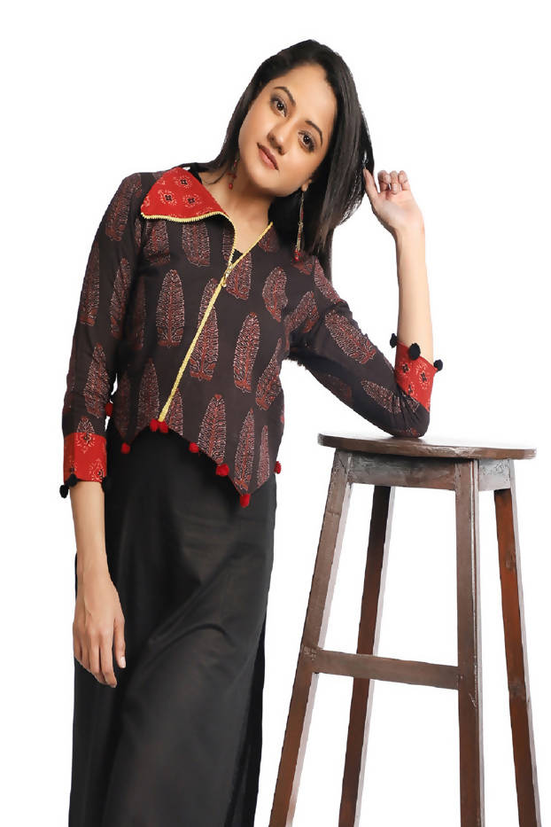 Black Red Boho Printed Cotton Jacket
