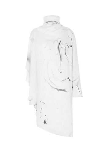Asymmetrical Hand Marbled Dress in White and Grey - Pipikini