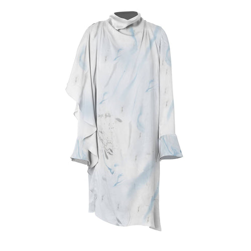 Asymmetrical Marbled Silk Satin Dress - Blue & Grey - Pipikini