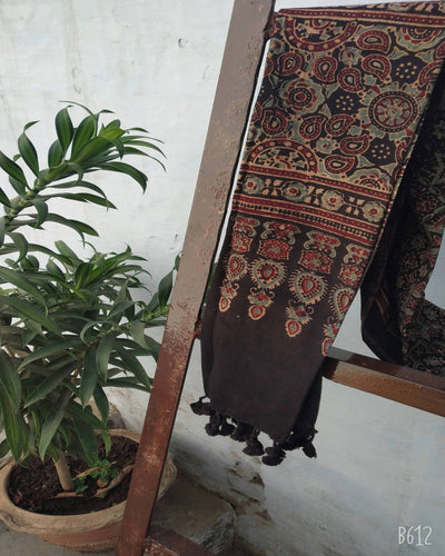 Black Ajrakh Cotton Handloom Stole - Pipikini