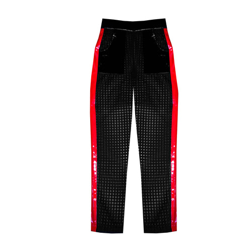 Dive Bar Pant - tuxedo mesh black  pant with red stripe vinyl pant