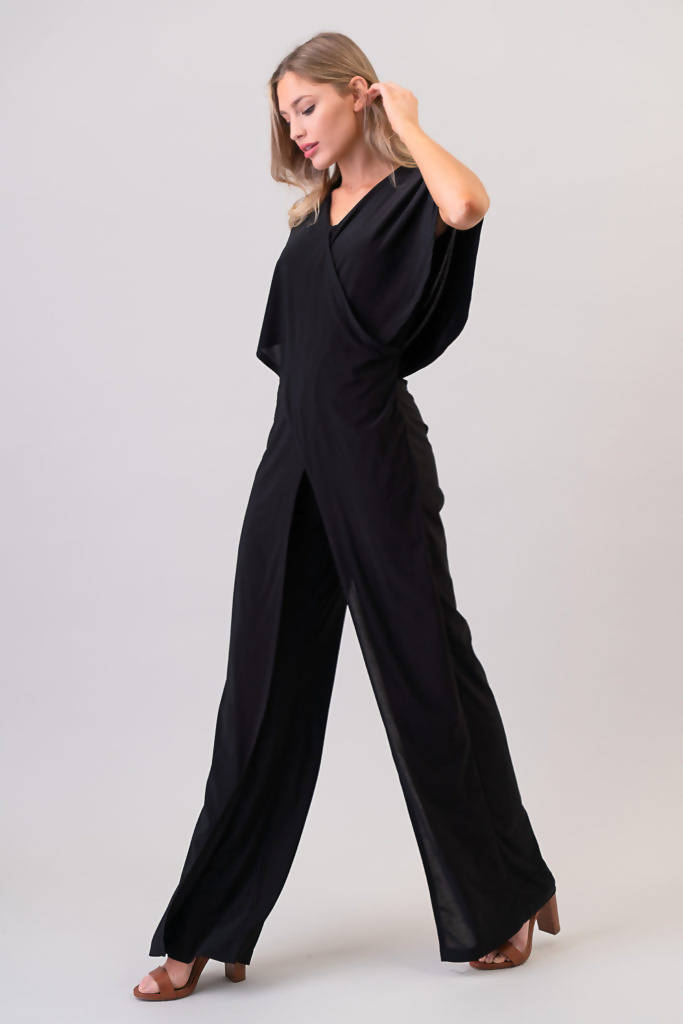 J15000-1 SUMMR Winged Jumpsuit (Poly-Span) Black sexy and slender fitting