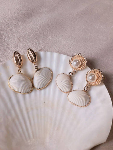 Gold Dipped Natural Shell Earrings - Pipikini