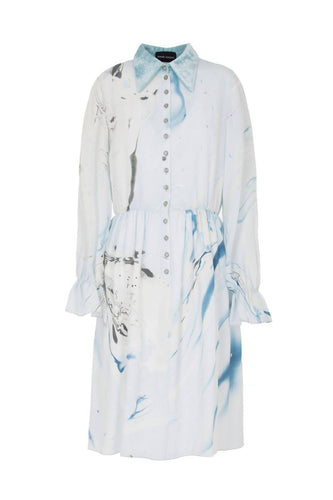 Hand Marbled Button Up Dress in Blue and Grey - Pipikini