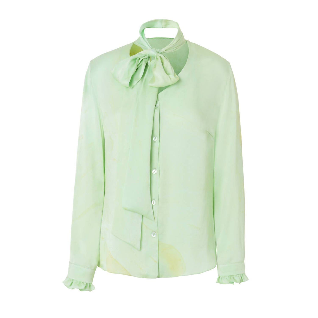 Hand Marbled Silk Satin Shirt - Green - Pipikini