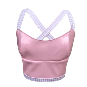 Hard Candy Halter - Backless glossy vinyl halter top with pink gingham straps.