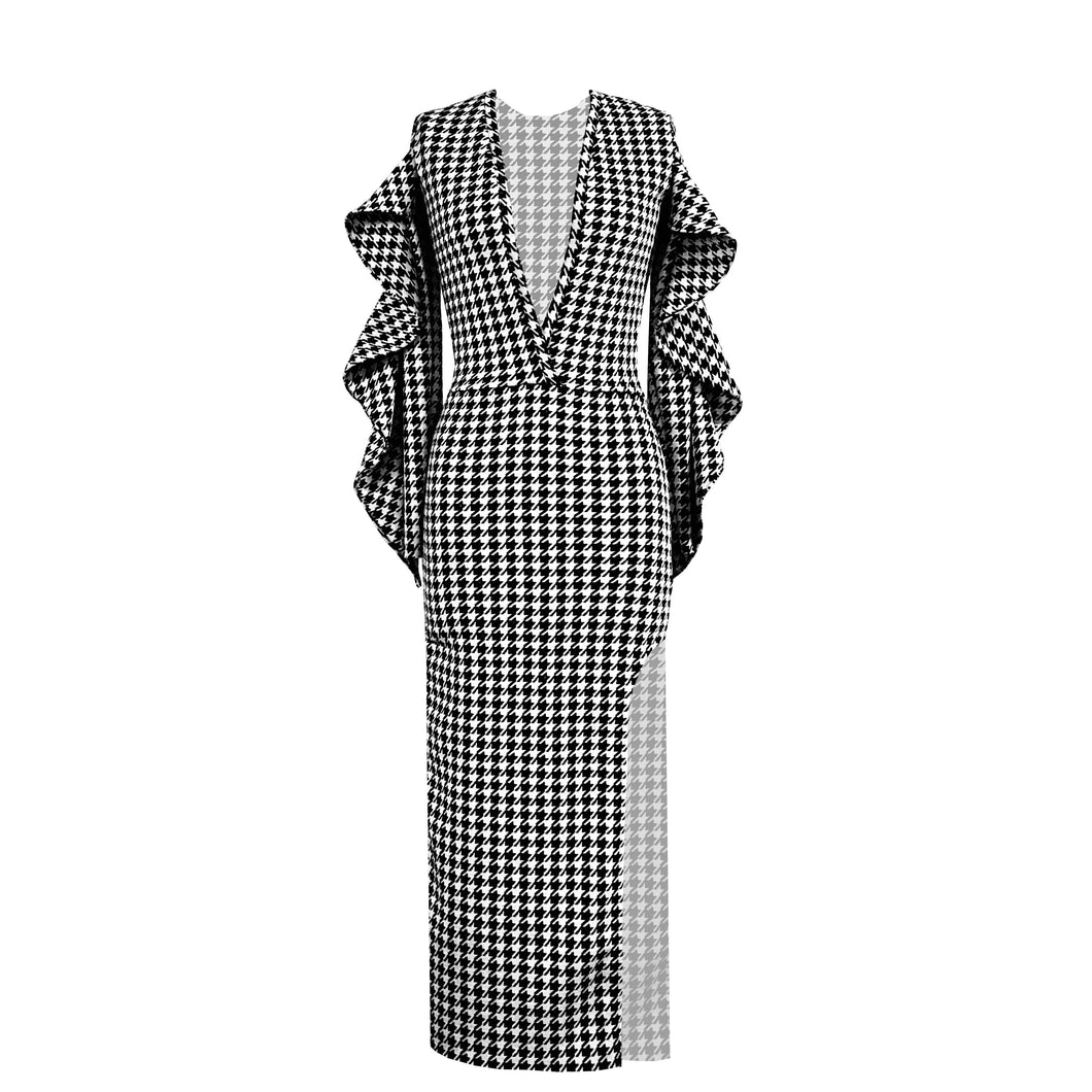 Houndstooth Dream Dress - Luxe thick knit dress with cascade sleeve and leg slit.