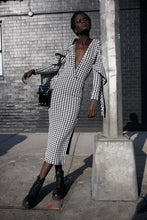Load image into Gallery viewer, Houndstooth Dream Dress - Luxe thick knit dress with cascade sleeve and leg slit.