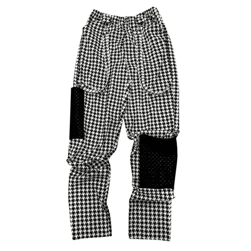 Houndstooth Utility Pant - Luxe high-waisted utility pant with quilted pockets and suspender detail.