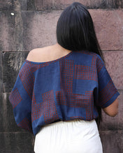 Load image into Gallery viewer, Indigo Puzzle Handwoven Organic Cotton Crop Top - Cotton Crop purple and Burgundy