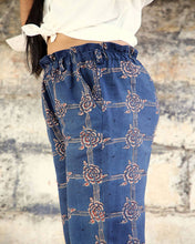 Load image into Gallery viewer, Indigo Red Handwoven Organic Cotton Boho Pants - ankle pants Trousers in floral detail