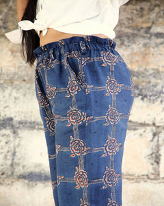 Indigo Red Handwoven Organic Cotton Boho Pants - ankle pants Trousers in floral detail