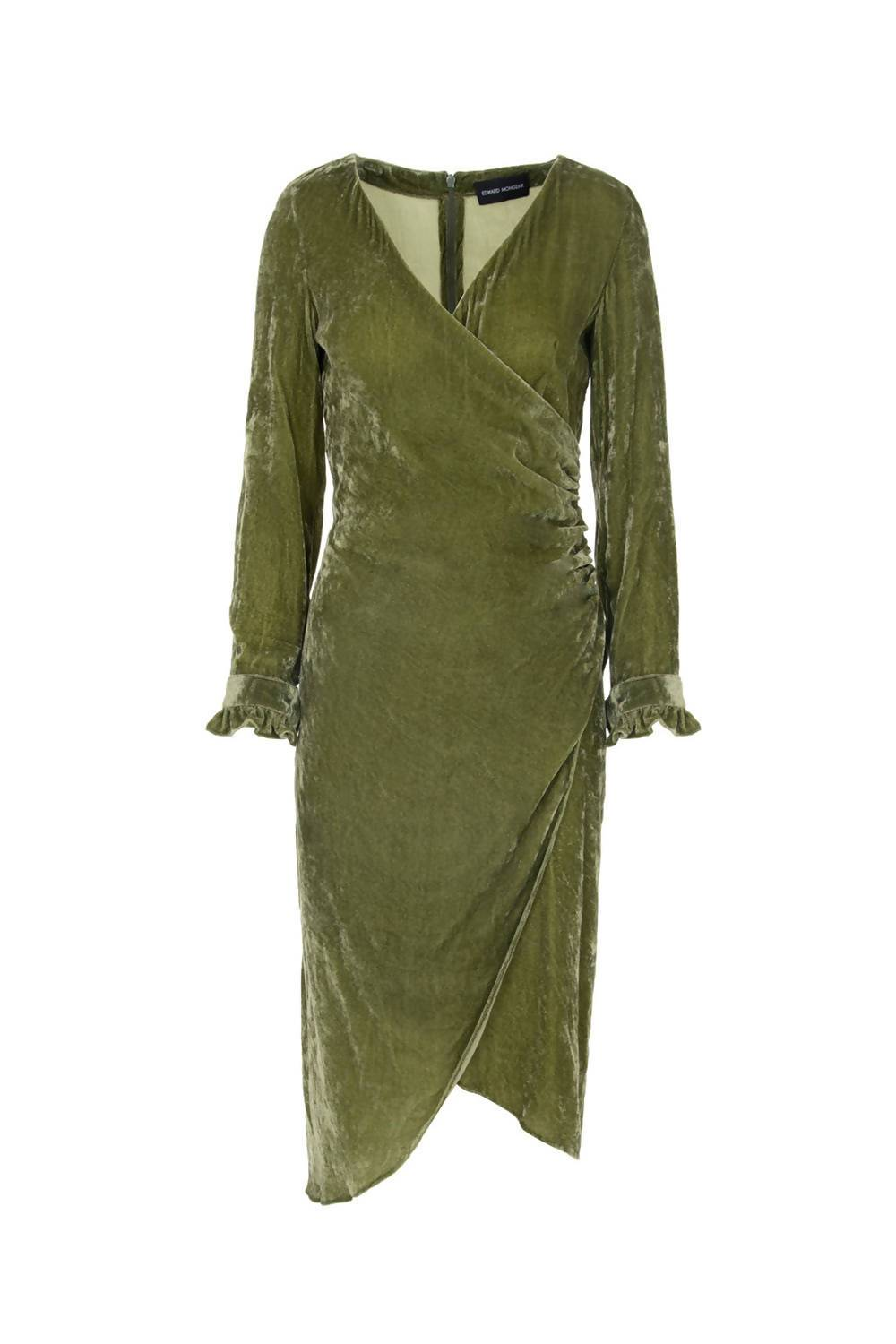 Silk Velvet Wrap Around Dress in Green - Pipikini