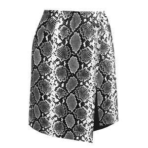 Snakeskin Mini - Luxe textured vegan-leather mini skirt in black and white