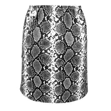 Load image into Gallery viewer, Snakeskin Mini - Luxe textured vegan-leather mini skirt in black and white