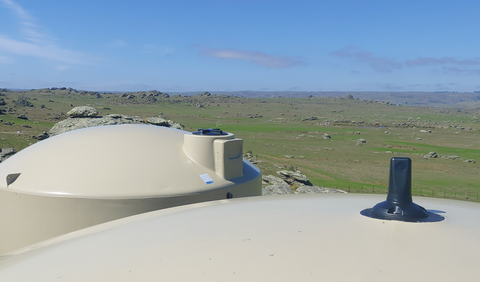 top of tank POV, two tanks lined up with a tank sensor installed