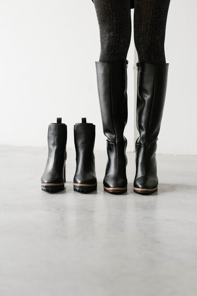 long and short boots vegan leather black