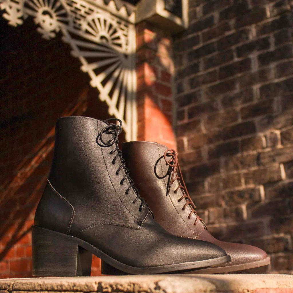 andrea vegan leather lace up boots from ahimsa