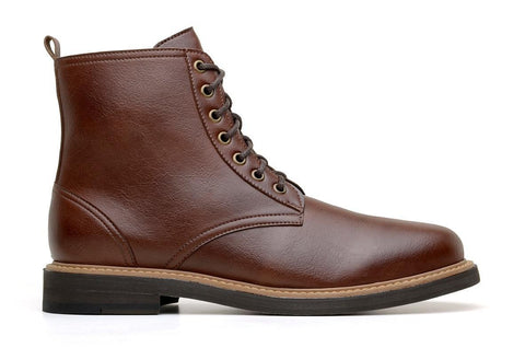 'Standard' classic lace-up boot in high-quality vegan leather by Brave Gentleman - brown