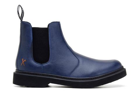 'Brick Lane' matte navy vegan Chelsea boot by King55 - Vegan Style