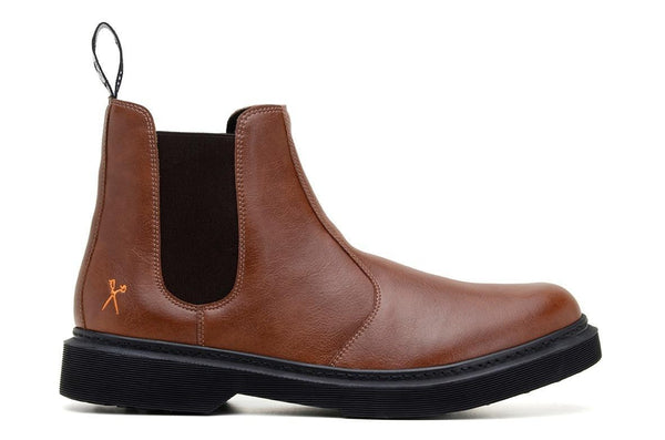 'Brick Lane' matte cognac vegan Chelsea boot by King55 - Vegan Style