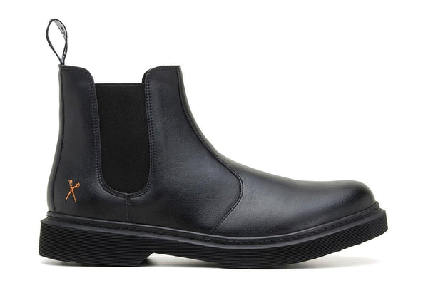 'Brick Lane' matte black vegan Chelsea boot by King55 - Vegan Style