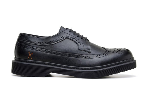 'Brogue UK' matte black vegan lace-up shoe by King55 - Vegan Style