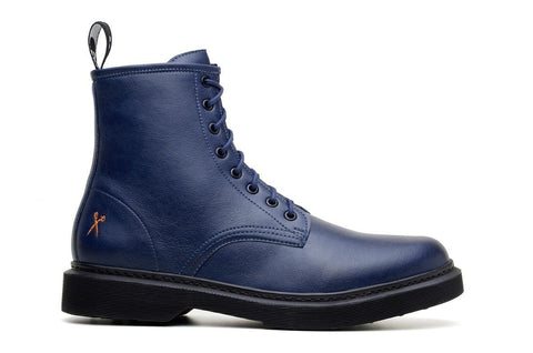 'London 2' matte navy vegan lace-up boot by King55 - Vegan Style