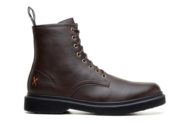 'London 2' matte espresso vegan lace-up boot by King55 - Vegan Style