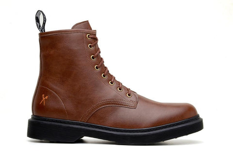 'London 2' matte cognac vegan lace-up boot by King55 - Vegan Style