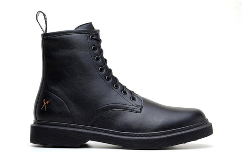 'London 2' matte black vegan lace-up boot by King55 - Vegan Style