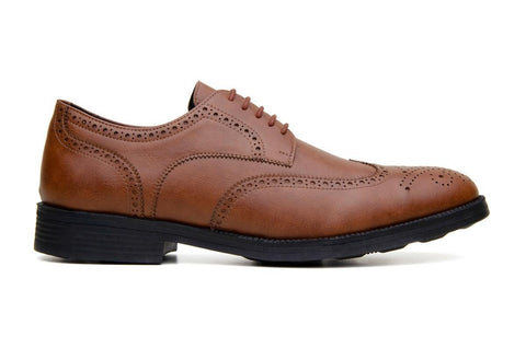 Classic wing-tip vegan leather by Vincente Verde -  cognac