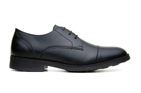 Classic vegan leather derby by Vincente Verde -  black