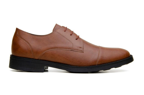 Classic vegan leather derby by Vincente Verde -  cognac
